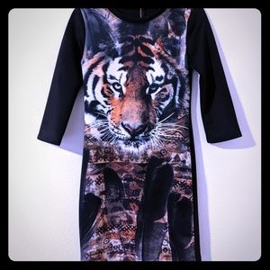 Black Bodycon Tiger Print